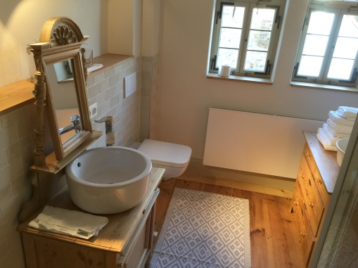 Full bath with toilet, sink and shower