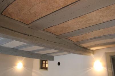 Freigelegte Decke von 1728, aufwendig restauriert dank der Zuwendungen der Landesdenkmalpflege Hessen