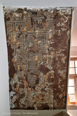 Different generations of wallpapers that were used in the house over multiple centuries.