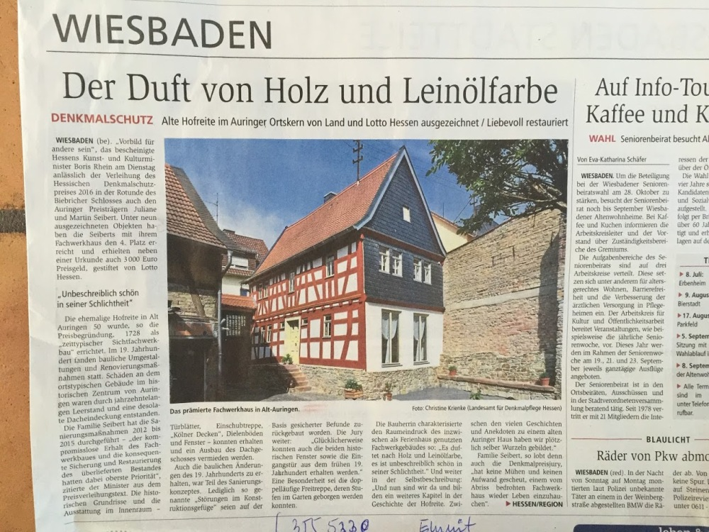 Article in Wiesbadener Kurier (local newspaper) from 2016-06-29.