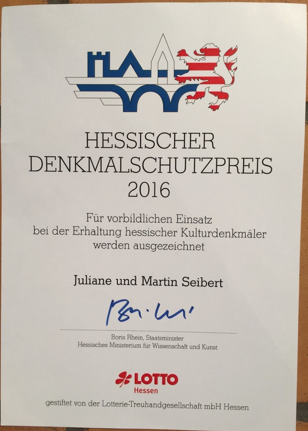 Official certificate of Federal State of Hesse, Germany for our award.